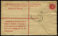 Lot 538 [2 of 2]:1916-20 4d Orange KGV Sideface on NSW Stock oblierating device in red, setting 2 (R to right edge of stamp 115mm), BW #RE6, uprated with WA 1d Swan & ½d green KGV, 1919 use from Perth to Melbourne.