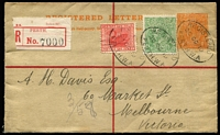Lot 538 [1 of 2]:1916-20 4d Orange KGV Sideface on NSW Stock oblierating device in red, setting 2 (R to right edge of stamp 115mm), BW #RE6, uprated with WA 1d Swan & ½d green KGV, 1919 use from Perth to Melbourne.