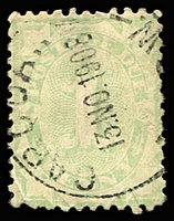 Lot 382:1906-08 Design Completed Wmk Crown/Single Lined A 1d light green P11 Wmk inverted, BW #D48a, Cat $2,000, fine 1908 cds of Carcoar. A very rare stamp.