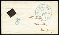Lot 1704:1851 Cover with 'BLOOD'S/One Cent/DESPATCH' local (Sc #L39) at left, fine blue 'PHILADELPHIA/27/JUN/PA.' and '5' on face, to Princeton.