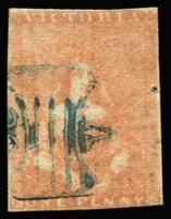 Lot 624:1850-53 Half-Length Ham 3rd State 1d dull orange-vermilion [21], SG #8, close or touching margins, cut-into at base, pinhole, attractive colour, Cat £650.