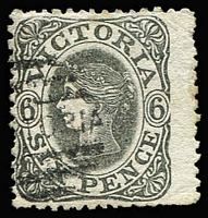 Lot 632:1862-64 Adapted Design Wmk 6 1d grey P12¼-12½x11½-12. [Kellow notes that the stamps of this perf occurred in September 1864 when partly perforated sheets where completed with the loan perforater from the Government Printer.]
