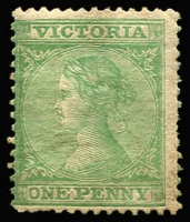 Lot 633:1863-74 Laureates DLR Paper Wmk Single-Lined Numeral 1d green P12½x12½, part typical brown gum, uncatalogued. A perf 12¼-12½ line perforator was used for 3 weeks in Sept 1864.