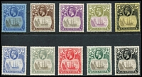 Lot 1376 [2 of 2]:1924-33 Badge SG #10-15d,17-20, ½d to 3/-, excl 6d, Cat £290. (11)
