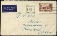 Lot 834 [2 of 3]:1939 (May) cover Melbourne to Germany paying airmail to Italy with 3d blue x3 & 2d red (paying 11d postcard rate). Fine boxed 'RETURNED [FOR]