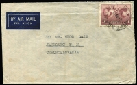Lot 709 [3 of 3]:1939 (May) cover Melbourne to Germany paying airmail to Italy with 3d blue x3 & 2d red (paying 11d postcard rate). Fine boxed 'RETURNED [FOR]