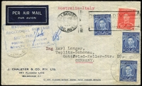 Lot 790 [1 of 3]:1939 (May) cover Melbourne to Germany paying airmail to Italy with 3d blue x3 & 2d red (paying 11d postcard rate). Fine boxed 'RETURNED [FOR]