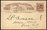 Lot 767:1923 'ONE/PENNY' On 1½d KGV Sideface Obsolete Stock BW #P58, 1½d red-brown (P52), Cat $250, 1924 use from Melbourne.