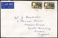 Lot 212:1972 35c Primary Industries pair paying double-weight airmail rate on 1972 (Aug 2) cover to England.