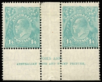 Lot 310:1/4d Greenish Blue Ash Imprint pair, BW #130z, usual centring, Cat $3,000 as block of 4.