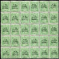 Lot 1328:1915-16 ½d Green Electro 5 bottom left part pane of 30 [5L31-60], unit 32 with White flaw in King's hair, the crack on unit 46 is not apparent, 18 units MUH. This is the 4th NWPI setting with the large dots and No dot after S on unit 12. A rare intermediate setting.