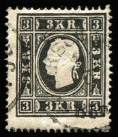 Lot 985:1858-59 Franz Joseph 3k black Type II, SG #23a, Cat £300.