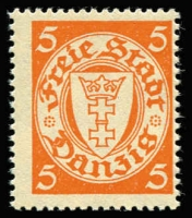 Lot 1219:1924-38 Definitives 5p orange on pale yellow Wmk upright, Mi #193yX, Cat €450 (SG #178c, Cat £150).