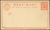 Lot 26 [3 of 9]:Denmark Local Post Unused group with [1] Aarhus 1884 3ø red Brev-Kort & 1884 15ø red/yellow Parcel Card; [2] Randers 1887 3ø grey Numeral, 1888 Envelopes, 2ø greyish green x2, 5ø red Express & 10ø greyish violet Telefon-Meddelelse; [3] Viborg 1887 5ø brown COD Card & 1887 5ø red 'Expres Envelope' (sharp flap). (9)