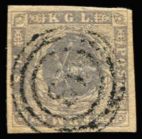 Lot 1221:1854-59 Spotted Spandrels 16s grey-lilac, 4-margins, SG #13, Cat £225. '18' of Frederiksborg.