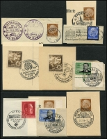 Lot 1862 [1 of 7]:1933-45 Special Events and Slogans cards and covers with 1943 Robert Koch, 1944 Germany Will Win, 1938 Hitler's Birthday, 1944 Kreigs Hilfswerk, 1939 International Motor Show, 1939 German Culture Day, 1939 Greater Germany, 1939 Colonial Conference, 1939 Winter Relief Fund on full set on Stamp Day card, plus others. (12)