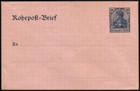 Lot 1859 [3 of 8]:Rohrpost: pristine unused selection with [1] Envelopes 1893 30pf, 1902 30pf, 1903 30pf, 1912 30pf, 1921 225pf & 1923 100pf; [2] Postal Card 1920 50pf uprated with 4M Germania x2. (8)