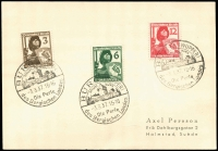 Lot 1119 [1 of 2]:1937 Civil Defence League set of 3 on plain postcard with printed Swedish address, pictorial FD cancel. Plus set of 3 marginal singles on FDC from Bonn to Aachen.
