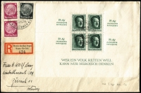 Lot 1120:1937 Hitler's Birthday & Culture Club perfed m/s with additional roulettes, Mi #646, with 1pf & 15pf Hindenburg x2 on registered cover from German-American Seapost Bremen - New York to Zurich, cancelled on 29.9.37, 5 days before day of issue.