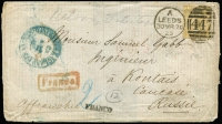 Lot 1528 [1 of 2]:1870 (Mar 30) cover from GB to Russia, 9d straw Pl 4 (SG #111), Leeds duplex cancel.
