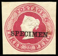 Lot 1647:1859 3d Carmine with date 21/5/59 on small piece, Huggins & Baker type 12a, ovptd seriffed 'SPECIMEN' 21x3mm. Used as colour standard.