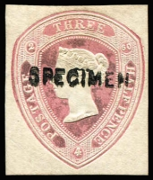 Lot 1648:1860 1½d Lilac-Rose with date 2/4/60 on small piece, Huggins & Baker type 6a, ovptd 'SPECIMEN' Type 6. Considered by Samuel & Huggins to be an essay, it was not used until 1872.