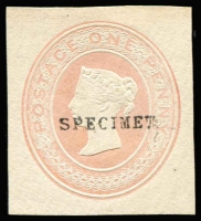 Lot 1649:1883 1d Pink undated without die number on small piece, Huggins & Baker type 5, ovptd 'SPECIMEN' Type 9. Used as a colour standard.