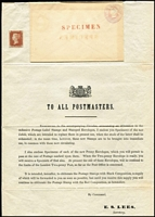 Lot 1481 [2 of 5]:1841 2d Blue White Lines Added 1841 Postal Notice complete bearing 1d Plate 5 [JJ] (good even margins) and right marginal 2d, with blank corner letter squares from the small trial plate of 12 (SG-Spec #DP43), together with two 1d pink envelopes, H&B EP3a (69x106mm - blue-red-blue silk threads) and EP4a (83x128mm Mulready envelope paper - red-blue-red silk threads) overprinted large type 'SPECIMEN' in red, a fine example which includes the wrapper it was to be mailed in. SG Spec #PN3, Cat £10,000. [The envelopes are interesting as Huggins & Baker state that the small envelope EP3a may have been privately produced from the larger EP4a and rate it as NR (not recorded) unused. Clearly this Postal Notice proves that that EP3a was a regular PO issue. It is also clear that these envelopes where folded from a sheet of paper after the stamp impression was done.] Also see Lot 1645