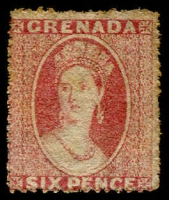 Lot 1568:1863-71 Chalon Wmk Small Star Rough Perf 14-16 6d rose, SG #6, MNG, Cat £600.