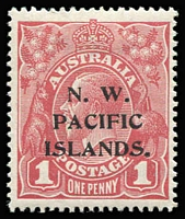 Lot 1028:1915-16 KGV Single Wmk 1d carmine-red Die II (c), SG #67c.