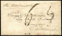 "Lot 740 [1 of 2]:1856 (Dec 7) stampless cover, with contents, from Sydney to Scotland, endorsed ""Per Wooloomoloo"", '3' handstamp on face obliterated and endorsed ""6"" in black."