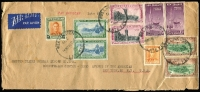 Lot 2200:1948 (May 6) use of KGVI 2/-, Otago Centennial set x2 & 2d on air cover to New York, endorsed 'late fee'.