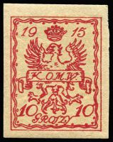 Lot 1262 [3 of 3]:Warsaw 1915: '6groszy' on 5gr dark green and pale orange-yellow trial print Mi #3P, Cat €150, Petriuk expertising handstamp. Plus 10gr brownish black perf 11½ cat €80 and 10gr red imperf. All mint
