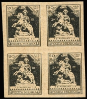 Lot 1264:Warsaw 1916: 20gr Sobieski Monument proof block of 4 in black, printed on both sides Mi #VIP, Cat €1,000, Ceremuga certificate (1999).