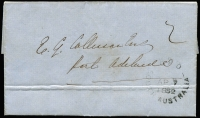 "Lot 580 [1 of 2]:1852 (Apr 7) stampless entire from Adelaide to the Collector of Customs, Port Adelaide. Fine GPO cds in face, rated ""2"" in black."