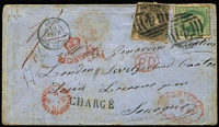 Lot 1308:1861 (Nov 28) registered cover to Switzerland with Perforated 2/- Woodblock SG 82, and 6d black Beaded Oval tied by BN '4' of Sandhurst, 'CROWN/REGISTERED' arc handstamp in red plus Sandhurst, Melbourne & London registered datestamps, rated '1/-' in red, Calais transit on face, backstamped with French boxed 'POIDS - CACHETS' plus Paris transit and Locarno arrival datestamps. [Switz#141 in Ben Palmer's census]
