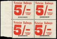 Lot 1186:1958-66 Eleventh Series 5/- red on white issued for Essendon, marginal block of 4.