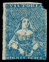 Lot 797:1854-57 Half-Length Campbell & Fergusson 3d greenish blue [pos 21] 3 margins, but TRC missing, SG #31a, unused, Cat £1,700.
