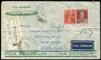 Lot 981 [1 of 2]:1934 (Oct 2) registered Condor Zeppelin illustrated cover (creased) to London with stamps cancelled at Buenos Aires, 'VIA CONDOR' airmail label and fine Stuttgart flying boat backstamp of 15.10.34.