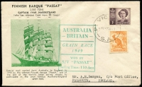 Lot 695 [1 of 2]:Bergen 1949 Grain Race illustrated cover carried on board winning ship Passat in a journey time of 110 days, Pt Victoria '12MY49' datestamp tying stamps, Falmouth (UK) '28SEP/1949' arrival backstamp. Fine condition.