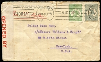"Lot 719 [1 of 2]:1915 (Jan 29) cover (small faults) from Melbourne to New York with ½d & 2d Roo, red on white 'OPENED BY/CENSOR' label at left, endorsed ""Per S.S. Maitai""."