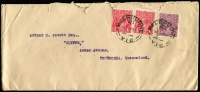 Lot 706:1922 (Mar 7) use of 4d violet KGV (Cat $450) and 1d red KGV x2 on cover (opened a little roughly) from Melbourne to Queensland. [6d = 1-1½oz letter.]