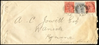 Lot 707 [1 of 2]:1922 (Jul 26) use of 4d blue KGV with 2d red x2 on cover (light stain) from Melbourne to Queensland. [8d = 1½-2oz letter.]