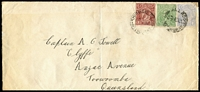 Lot 720:1923 (Jan 4) use of 4d blue KGV (cnr fault) with 1½d red-brown & ½d green on cover from Melbourne to Queensland. Attractive 3-colour franking. [6d = 1-1½oz letter.]