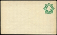 Lot 779 [1 of 2]:1923-24 1½d Green KGV Star both types, [1] white unsurfaced paper (flap stuck down), [2] white with blue security lining (fresh unused), BW #EP27(1),(2), Cat $400. (2)