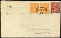 Lot 206:2d Red-Brown BW #97, with ½d orange x2 on cover from Perth to USA. Far from common on cover, very fine, min cat $175.