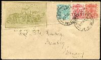 Lot 969:1897 Jubilee PTPO Envelope: 1d Arms with fine Reschs Limited illustration in left corner, uprated with ½d & 1d for use to Germany, small flap problem, otherwise fine.