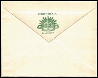 Lot 903:1916(C.) fresh unused envelope with green 'OFFICERS' MESS, A.I.F.,/[rising sun badge]/CLAREMONT' on flap. very attractive, not seen by us before and apparently not recorded by Emery.