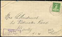 Lot 271 [1 of 10]:1940s-70s RAAF Unit Cachets and later Forces Concession rate cachet collection on covers and fronts (5). Wide variety. Difficult to assemble. (72)