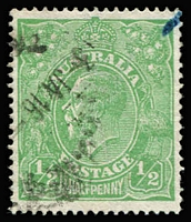 Lot 533:½d Green Comb Perf Plate 3 variety Crack through SW corner [3L58] BW #63(3)h, cancel partially obscures flaw, small blue mark in corner, Cat $2,000 (2014).